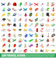 100 travel icons set isometric 3d style vector image
