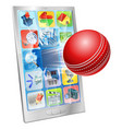 cricket ball flying out of cell phone vector image vector image