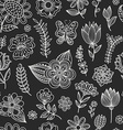 Seamless pattern with chalk flowers vector image
