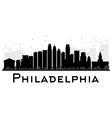 Philadelphia City skyline black and white silhouet vector image