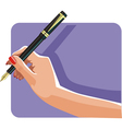 hand and pen vector image