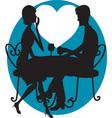 romantic couple silhouette vector image