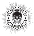 Skateboarding vintage label with skull in helmet vector image