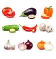 Raw Vegetables Isolated Icons vector image