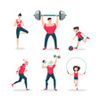sport family cartoon people icon set vector image