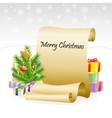 Paper scroll for christmas congratulations vector image