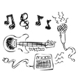 doodle music vector image