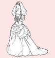 bride in a wedding gown vector image