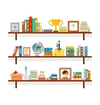 Bookshelves with books and cactus in pot vector image
