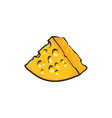 chunk triangular piece of swiss emmental cheese vector image