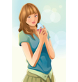 cute girl drinking juice vector image