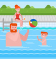 happy caucasian family having fun in swimming pool vector image