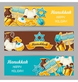 Jewish Hanukkah celebration banners with holiday vector image