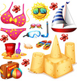 Summer set with bikini and sandcastle vector image