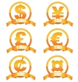 Currency signs golden set vector image
