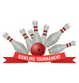 bowling tournament logo design of strike made by vector image