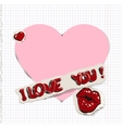 I love you Heart and kiss on paper vector image