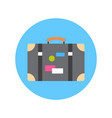 old suitcase with stickers icon travel baggage vector image