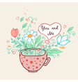 Pink cup of coffee and flowers vector image