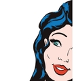 Woman pop art female avatar retro icon vector image