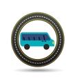 blue bus circle road way design vector image