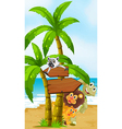 Wild animals at the beach with arrowboards vector image vector image