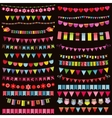 Colorful flags bunting and garland set on dark vector image