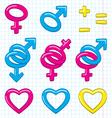 cartoon gender symbols vector image vector image