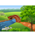 Beautiful river on nature background vector image vector image