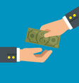 hand giving cash and hand receiving cash vector image