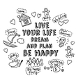 Happy greeting card dream and plan objects doodles vector image