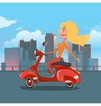 Girl riding scooter cartoon vector image