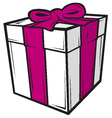white gift box with pink ribbon vector image