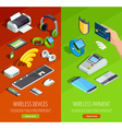 Wireless Technology Isometric Vertical Banners Set vector image vector image