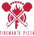 firemans pizza concept with oven and peels
