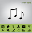 music notes sign  black icon at gray vector image