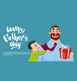Happy father day family holiday son embracing dad vector image