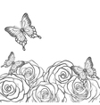black and white card with roses and butterflies vector image vector image