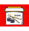 open box with icon of sushi on red patte vector image