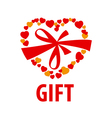 logo gift in the form of heart vector image vector image