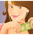 Cute girl listening music vector image