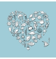 Marine life heart shape sketch for your design vector image vector image