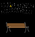 bench at night sky and stars romantic background vector image