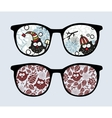 Retro sunglasses with winter owls reflection vector image