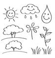 Summer hand drawn sketches vector image
