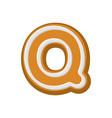Letter q gingerbread peppermint honey-cake font vector image