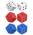 Dice set on white vector image