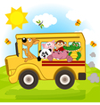 animals on bus vector image