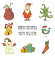 Christmas retro elements and lettering vector image
