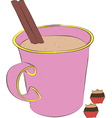 cup of coffee and sweets vector image